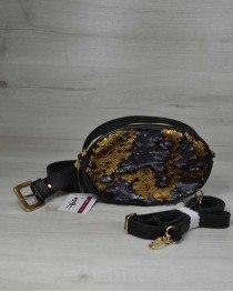 Женская сумка на пояс- клатч WeLassie черного цвета Пайетки золото-черный