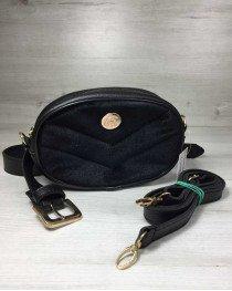 Женская сумка на пояс- клатч WeLassie черного цвета Бархат черный