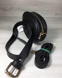 Женская сумка на пояс- клатч WeLassie черного цвета Бархат бордо