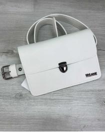 Женская сумка на пояс- клатч Арья белого цвета