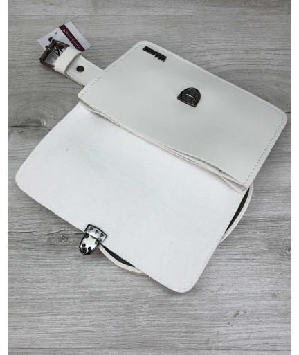 Женская сумка на пояс клатч «Арья»  белого цвета
