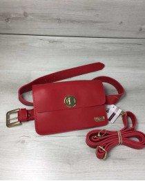 Женская сумка на пояс- клатч Арья красного цвета