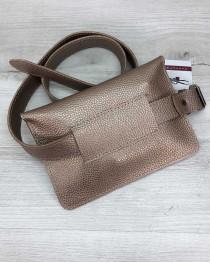 Женская сумка на пояс клатч «Арья» золотого цвета
