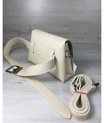 Женская сумка на пояс- клатч Белла бежевого цвета