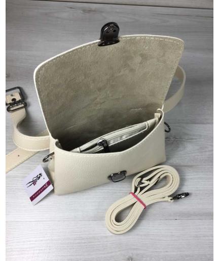 Женская сумка на пояс-клатч Белла бежевого цвета