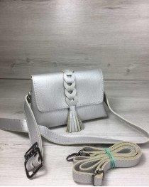Женская сумка на пояс- клатч Белла серебряного цвета с плетением и кисточкой