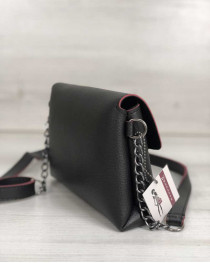 Женский клатч на цепочке Белла черного с красным цвета