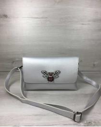 Женская сумка- клатч Келли серебряного цвета (никель)