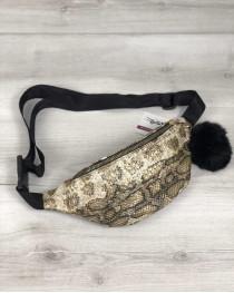 Женская сумка Бананка с пушком золотая змея