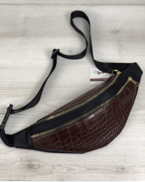 Женская сумка Бананка на два отделения коричневый крокодил