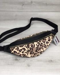 Женская сумка Бананка на два отделения леопард с черным