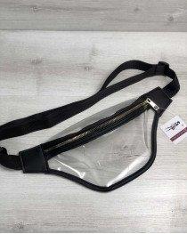 Стильная женская сумочка Бананка силиконовая с черным (прозрачная)