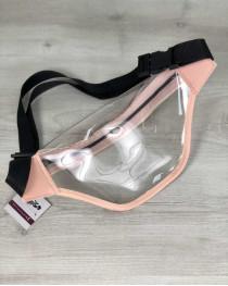 Стильная женская сумочка Бананка силиконовая с пудрой (прозрачная)
