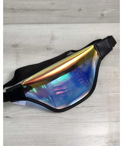 Стильная женская сумочка Бананка перламутровый силикон с черным (полупрозрачная)