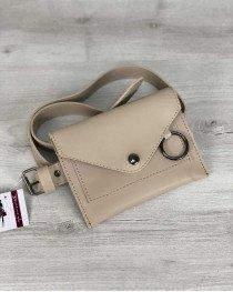 Стильная женская сумка на пояс Moris кремового цвета