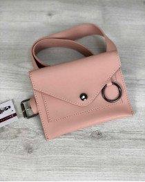 Стильная женская сумка на пояс Moris пудрового цвета