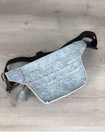 Стильная сумочка на пояс Элен голубой крокодил