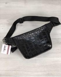 Женская сумка на пояс Элен черный крокодил