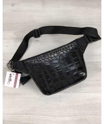 Стильная сумочка на пояс Элен черный крокодил