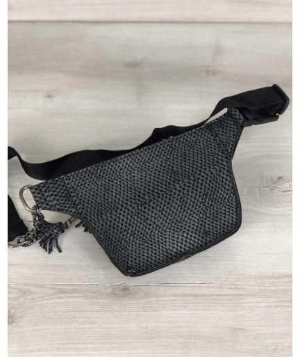 Стильная сумочка на пояс Элен серая змея