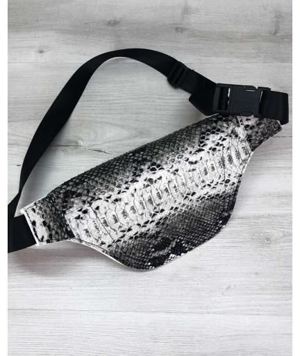 Женская сумка бананка «Эмма» черно-белая