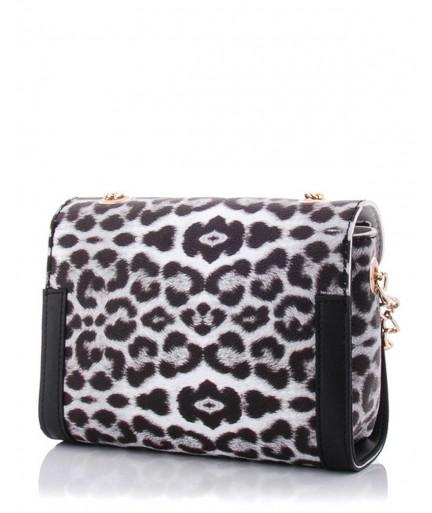 Женская сумка «Бэсс» черно-белый леопард