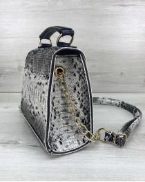 Женская сумка «Sam» черно-белая