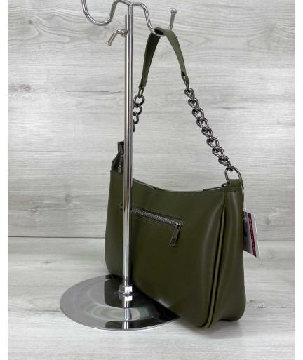 Женская сумка «Луна» оливковая