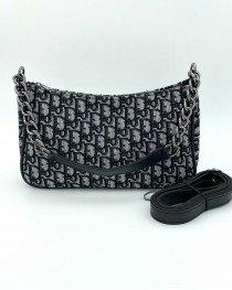 Женская сумка «Луна» черная с принтом