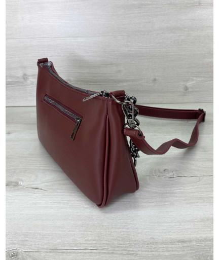Женская сумка «Луна» бордовая