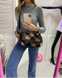 Женская сумка «Наоми» горчичная клетка