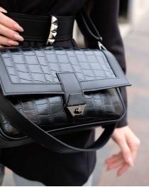 Женская сумка «Наоми» черный крокодил