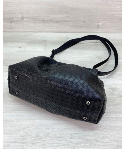 Женская сумка «Vivian» черная плетеная