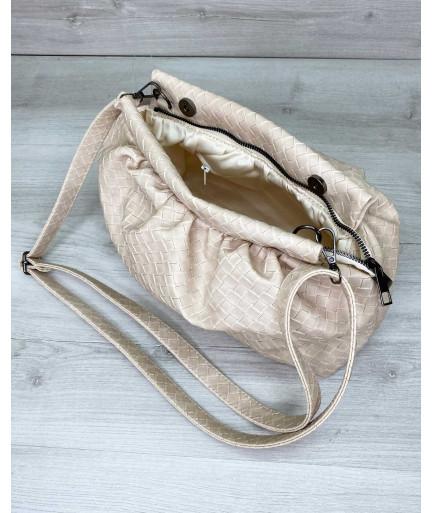 Женская сумка «Vivian» бежевая плетеная