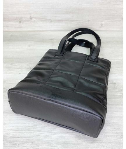 Женская сумка «Бруки» черная стеганая