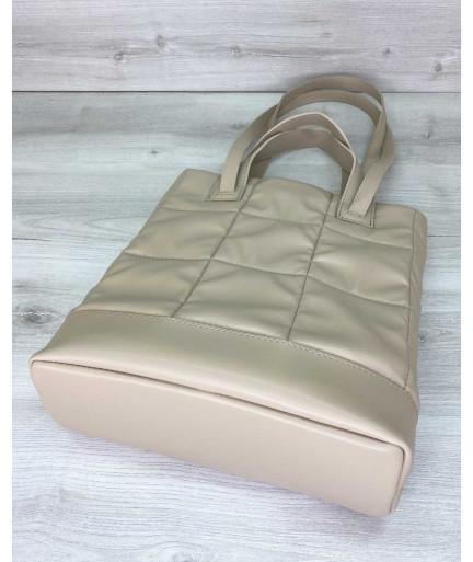 Женская сумка «Бруки» бежевая стеганая