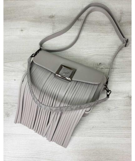 Женская сумка с бахромой «Ариэль» серая