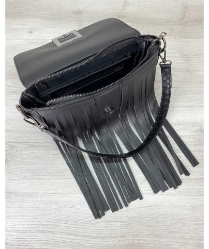 Женская сумка с бахромой «Ариэль» черная