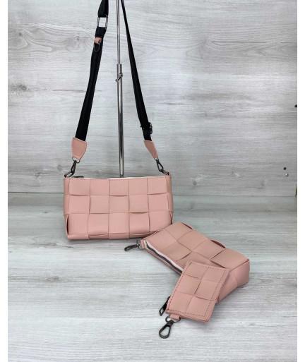 Женская сумка «Салли» комплект 3 в 1 пудровая