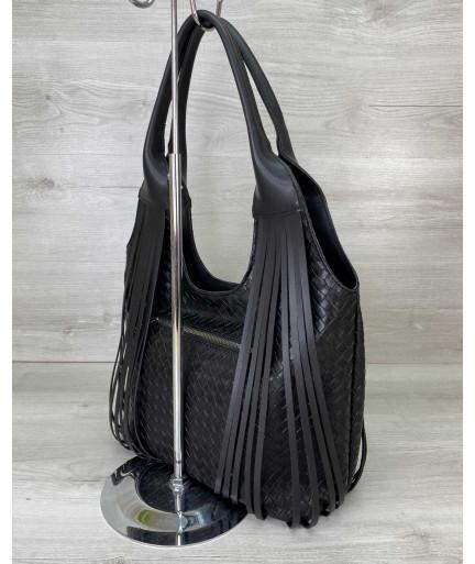 Женская сумка «Хелен» черная плетеная