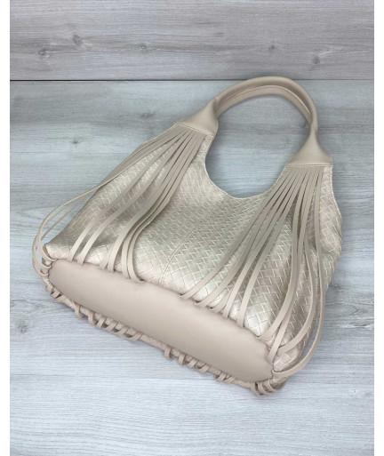 Женская сумка «Хелен» бежевая плетеная