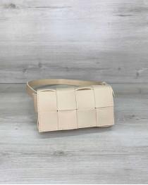 Женская сумка клатч на пояс «Энди» плетеная бежевая