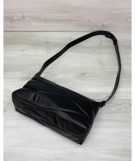 Женская сумка «Догги» черная стеганая