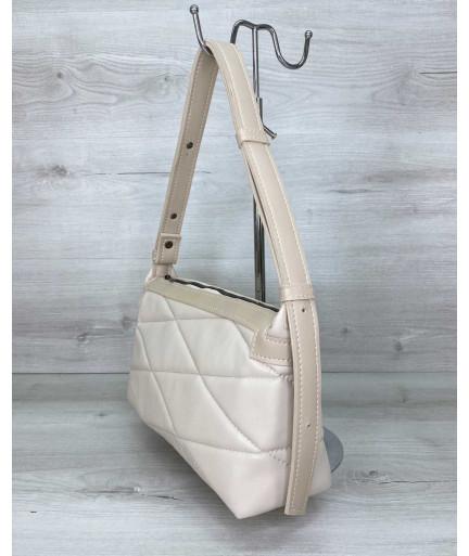 Женская сумка «Догги» бежевая стеганая