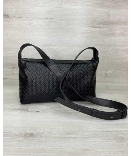 Женская сумка «Догги» черная плетеная
