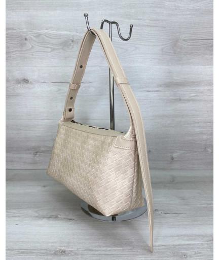 Женская сумка «Догги» бежевая плетеная