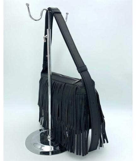 Женская сумка «Догги» черная с бахрамой