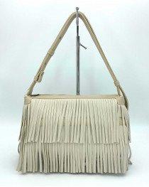 Женская сумка «Догги» бежевая с бахрамой