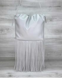 Женская сумка с бахромой «Пипер» серая