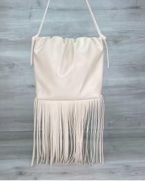 Женская сумка с бахромой «Пипер» бежевая